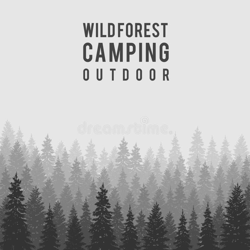 Fondo conífero salvaje del bosque del vector outdoor ilustración del vector