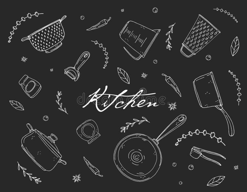 Fondo con articolo da cucina, la spezia e l'iscrizione disegnati a mano su una lavagna royalty illustrazione gratis