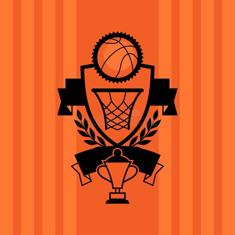 Fondo con baloncesto, la bola, el aro y las etiquetas ilustración del vector