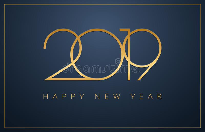 Fondo con clase de la Feliz Año Nuevo 2019 Diseño de oro para Christm libre illustration