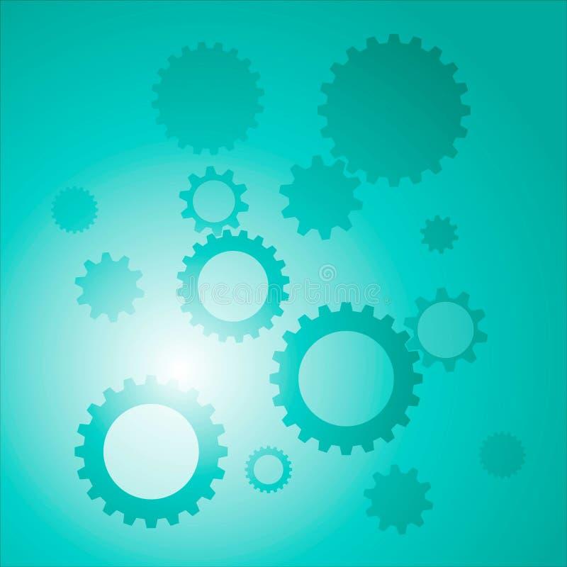 Fondo con colore blu degli ingranaggi illustrazione di stock