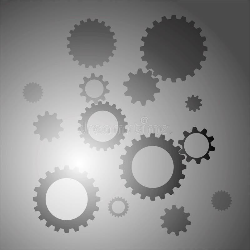 Fondo con colore grigio degli ingranaggi illustrazione vettoriale