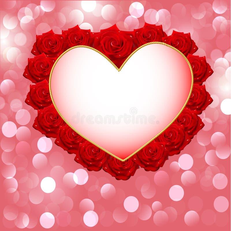 Fondo con cuore fatto delle rose per l'invito di nozze illustrazione di stock