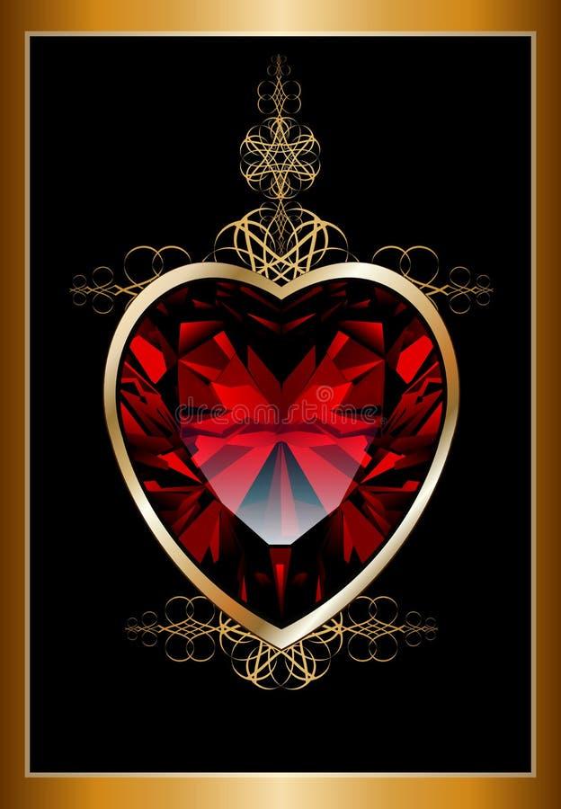 Fondo con cuore rosso vermiglio illustrazione vettoriale