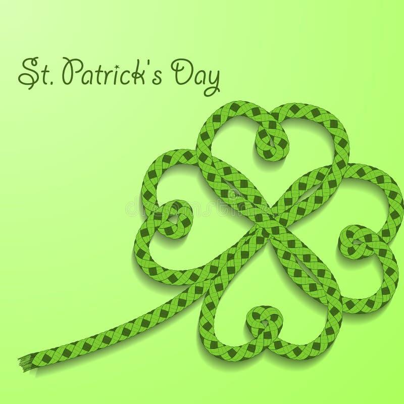 Fondo con día del St Patricks de la inscripción El trébol con cuatro pétalos de verde dobló la cuerda libre illustration