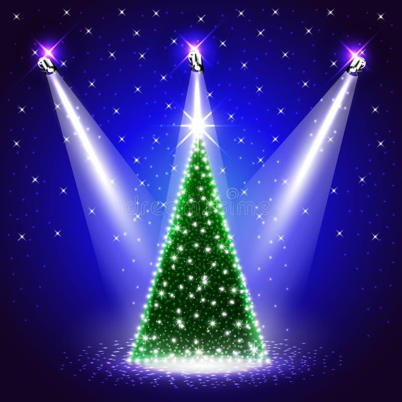 Fondo con el árbol de navidad adornado debajo de proyectores stock de ilustración