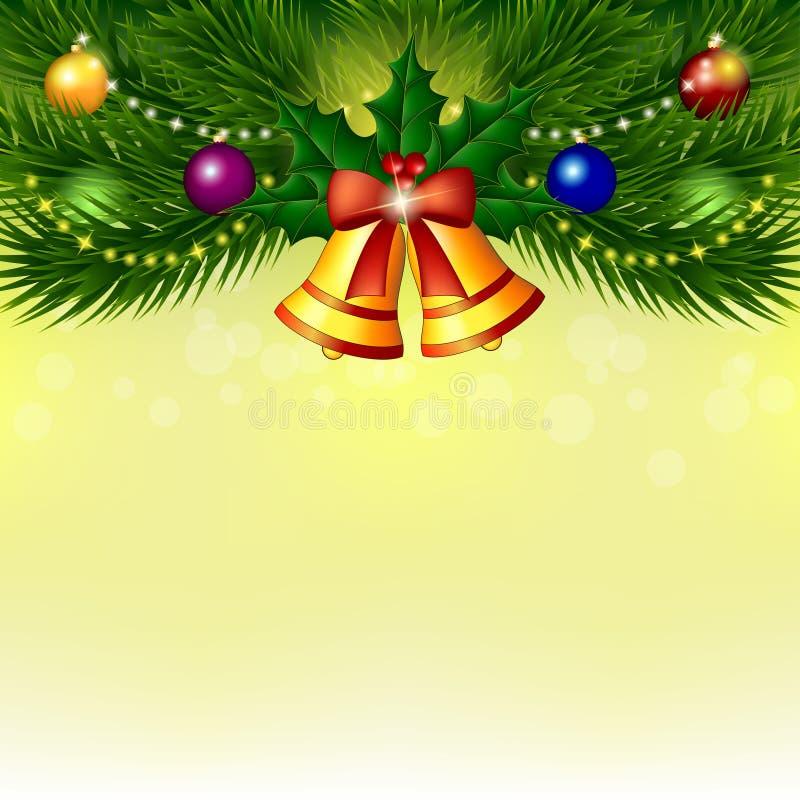 Fondo con el árbol de navidad, las campanas y las bolas ilustración del vector