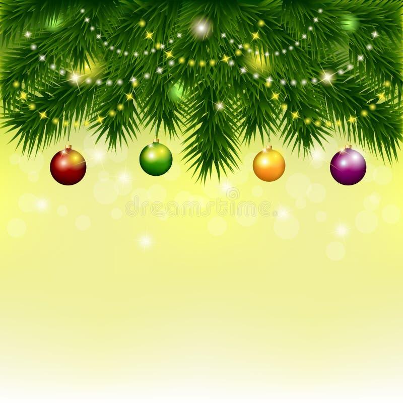 Fondo con el árbol de navidad y las bolas stock de ilustración
