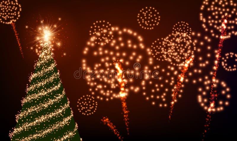 Fondo con el árbol de navidad y los fuegos artificiales stock de ilustración