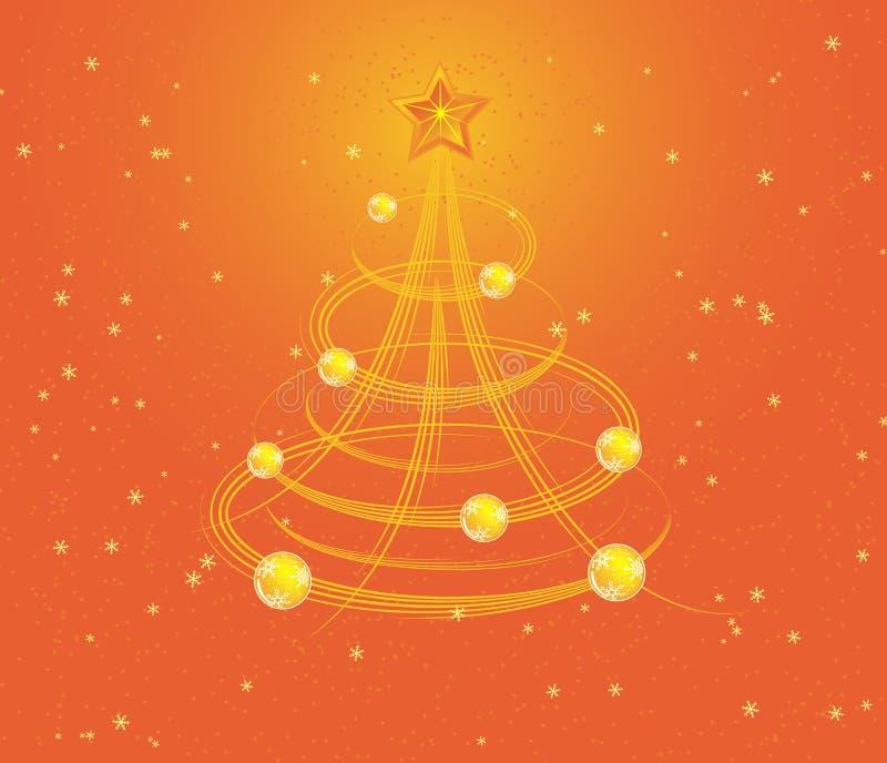 Fondo con el árbol estilizado, vector de la Navidad stock de ilustración
