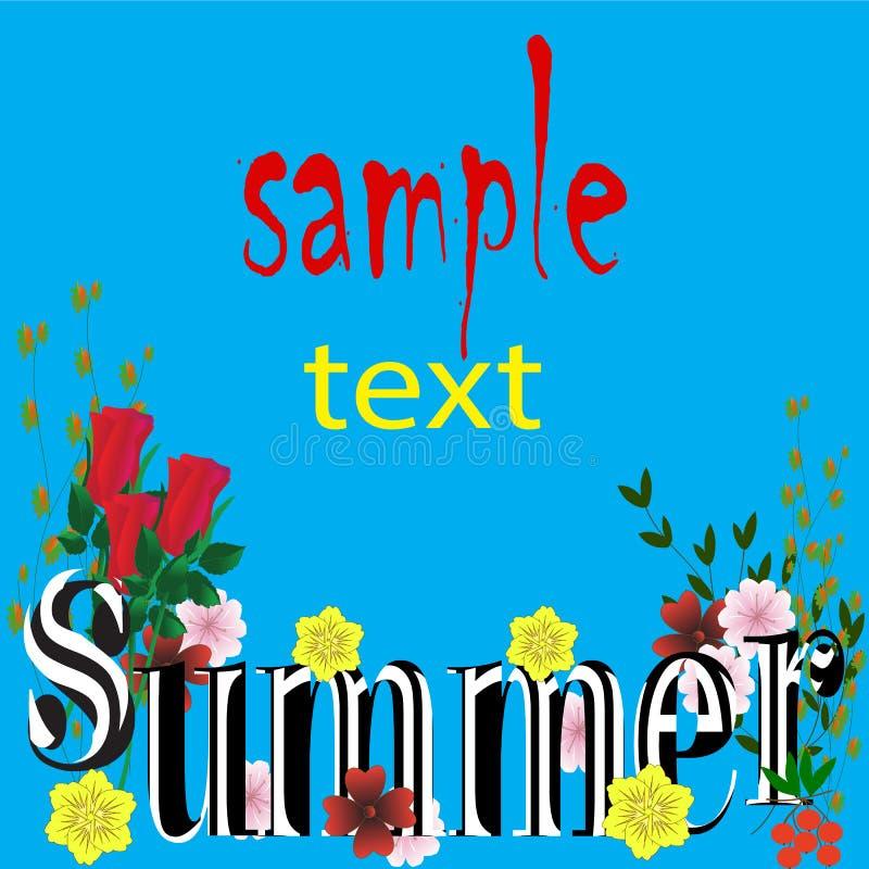 Fondo con el azul brillante con las hojas, letras hermosas del verano de los colores ilustración del vector