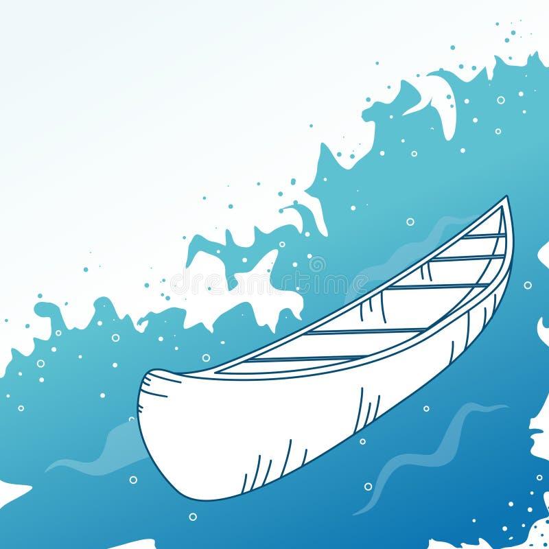 Fondo con el barco. stock de ilustración