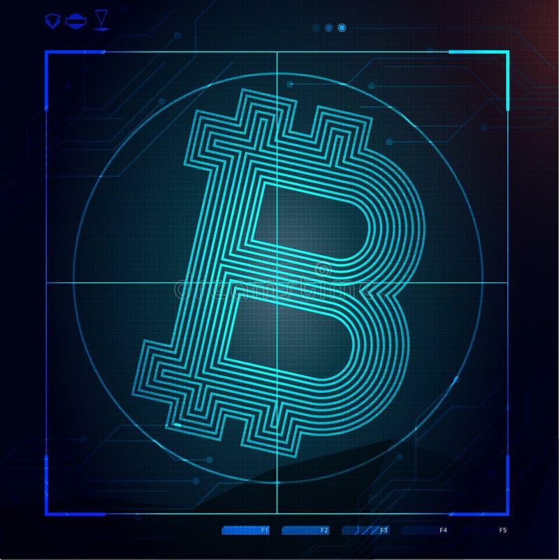 Fondo con el bitcoin en espacio virtual futurista stock de ilustración