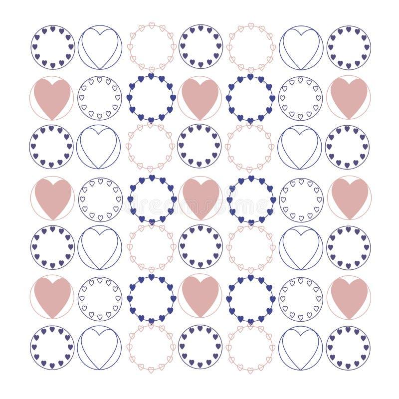 Fondo con el corazón Elementos decorativos Elementos gráficos dibujados mano Contexto en colores pastel vector del ejemplo ilustración del vector