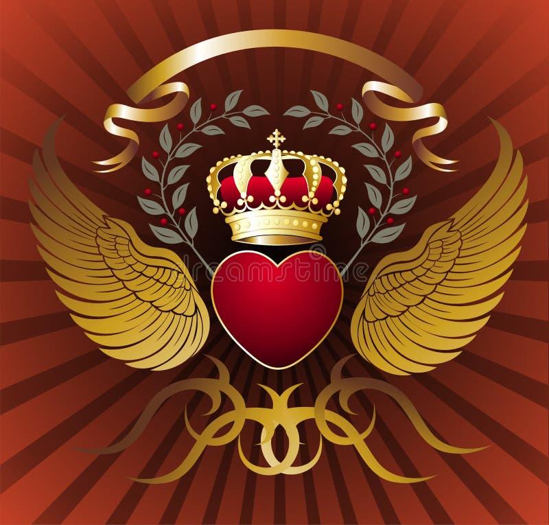 Fondo con el corazón, las alas y la corona real del oro libre illustration