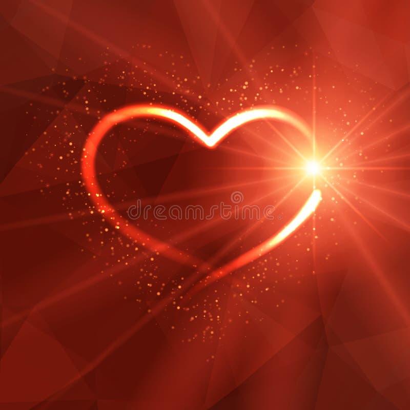 Fondo con el corazón y las luces luminosos stock de ilustración