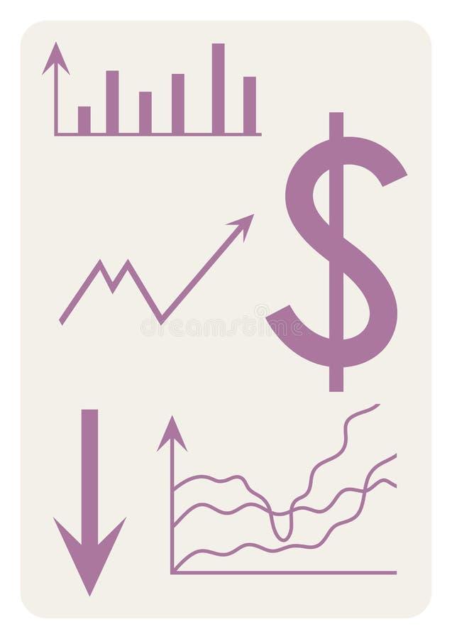 Fondo con el dólar, horario, flecha, carta, sistema de coordenadas, vector stock de ilustración