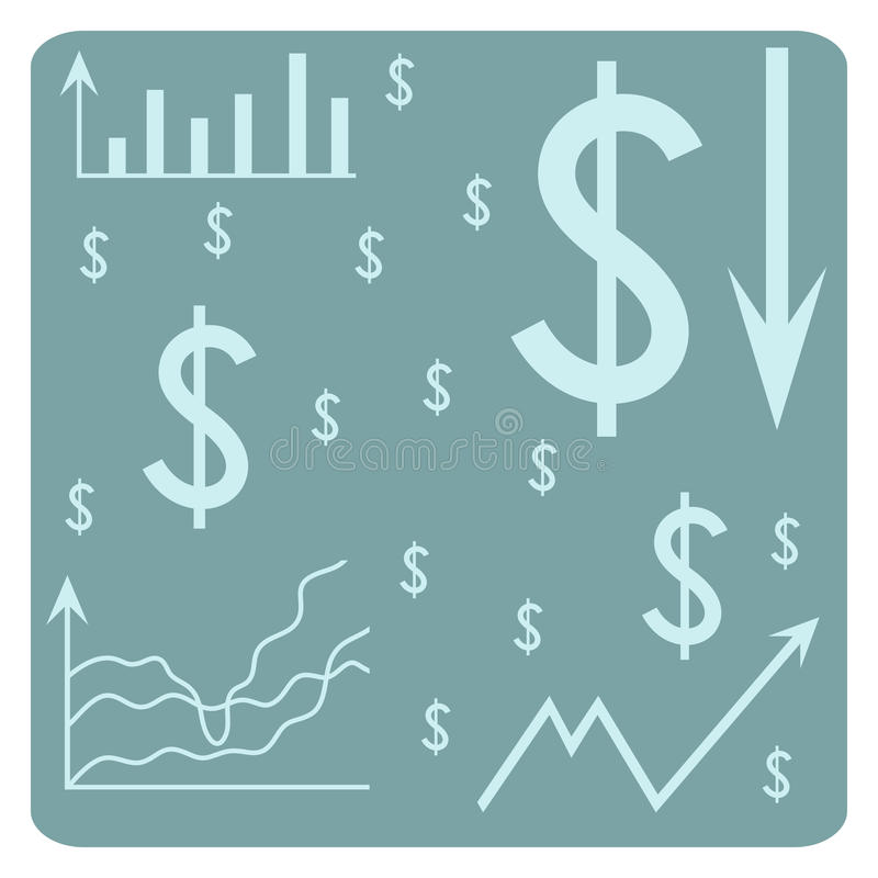 Fondo con el dólar, horario, flechas, carta, sistema de coordenadas libre illustration