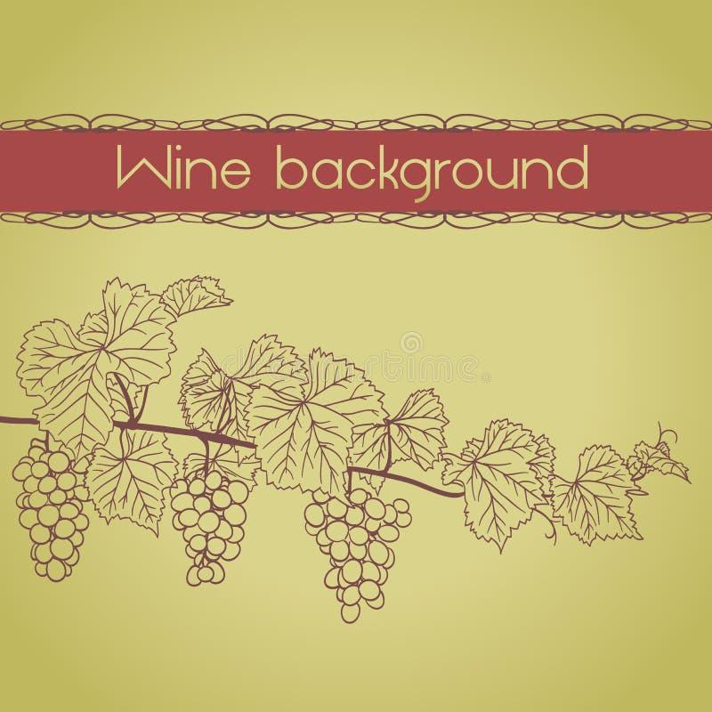 Fondo con el esquema de la vid con las uvas stock de ilustración