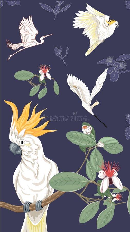 Fondo con el estampado de flores con las flores florecientes del feijoa stock de ilustración