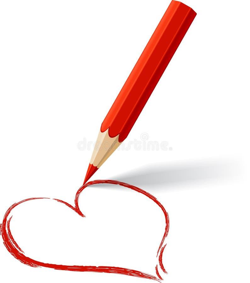 Fondo con el lápiz coloreado Corazón dibujado vector stock de ilustración