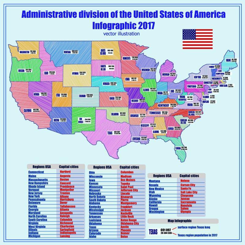 Fondo con el mapa de los E.E.U.U. y de las regiones Vector ilustración del vector