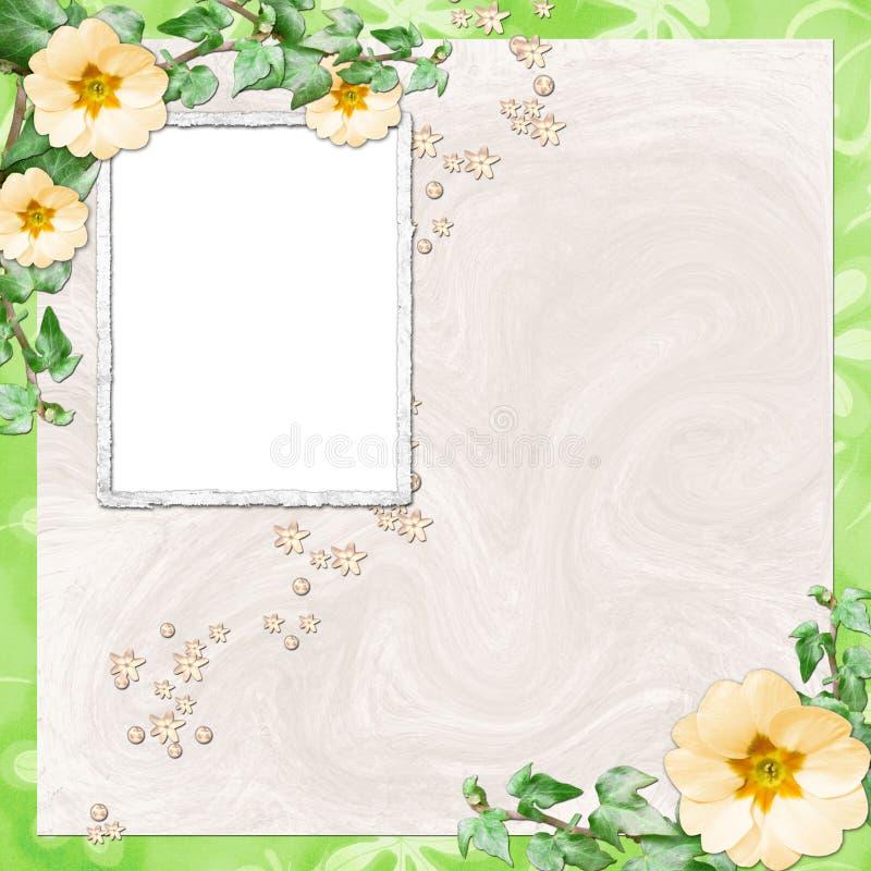 Fondo con el marco y las flores stock de ilustración