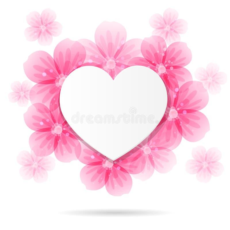 Fondo Con El Marco Y Las Flores En Forma De Corazón Ilustración del ...