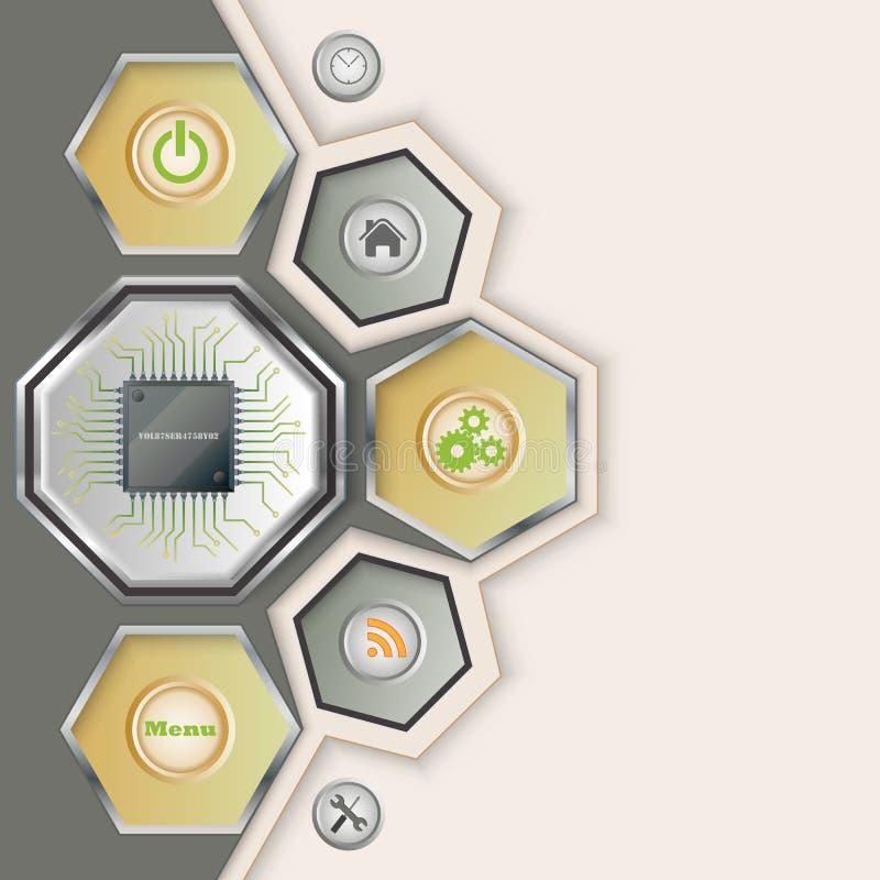 Fondo con el microprocesador electrónico libre illustration