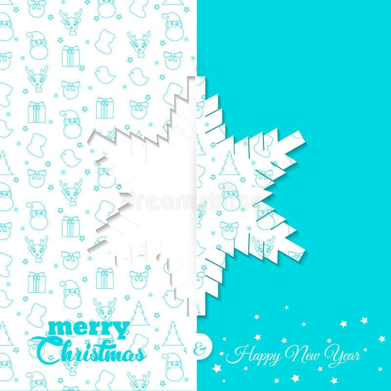 Fondo con el modelo del símbolo de la Navidad Plantillas de la tarjeta de felicitación de la Navidad y del Año Nuevo - copo de ni ilustración del vector