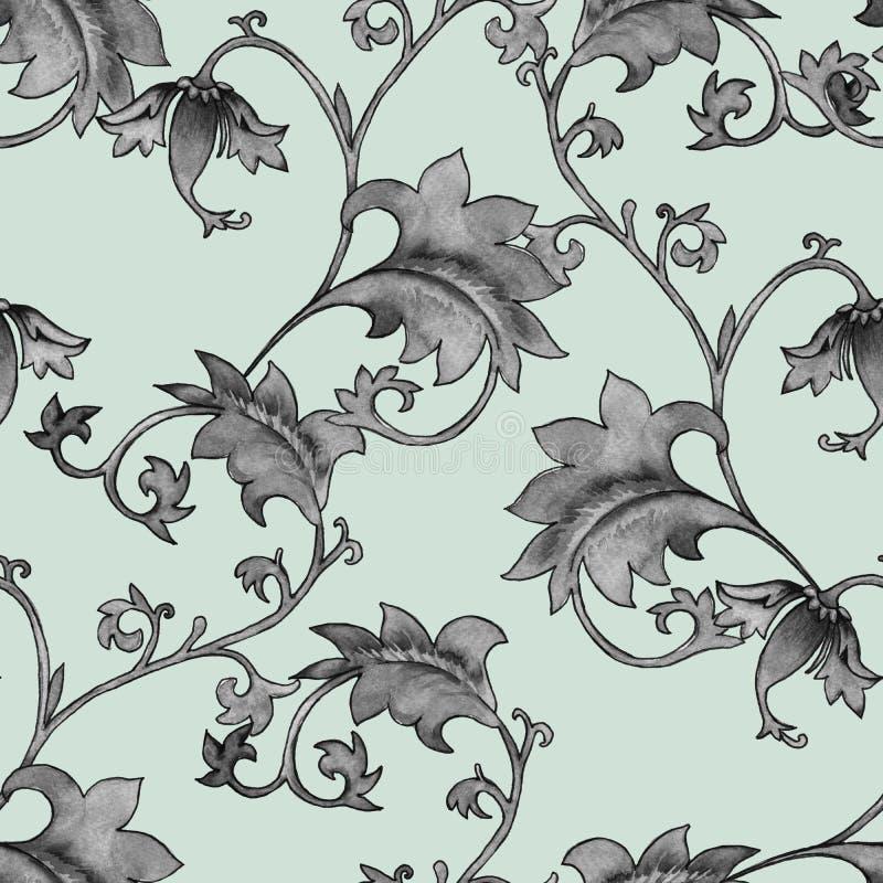 Fondo con el ornamento Ramas de la flor del modelo del vintage Modelo inconsútil libre illustration