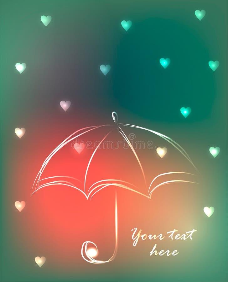 Fondo con el paraguas y la lluvia lindos de pequeños corazones, ejemplo del esquema del vector stock de ilustración