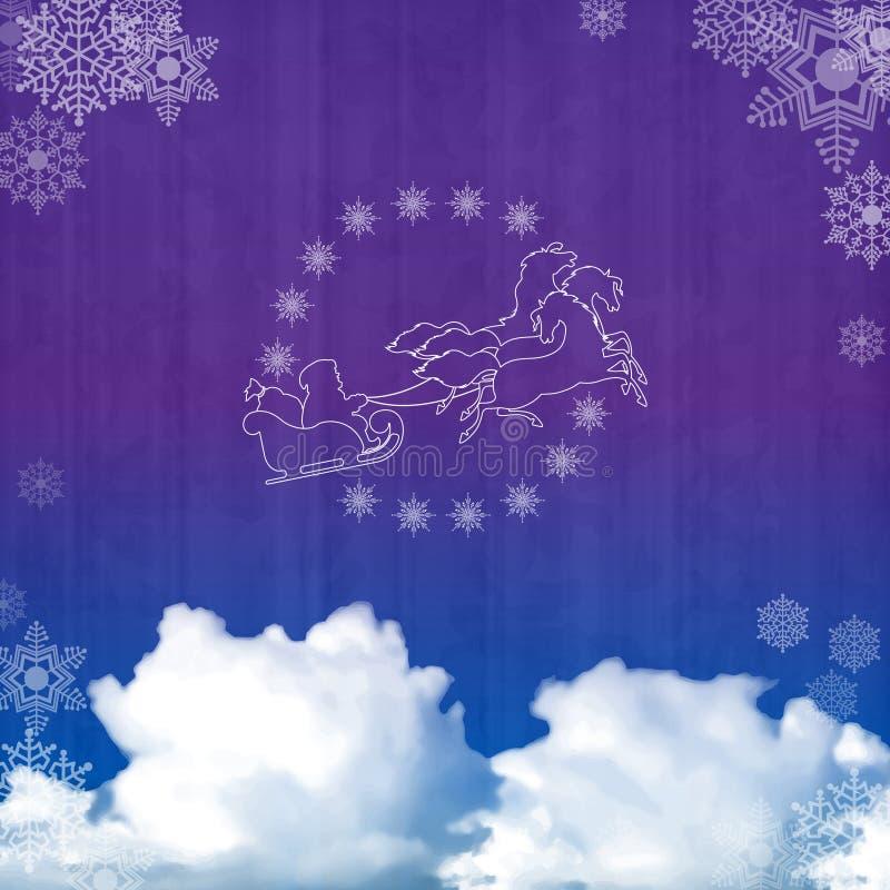 Fondo con el trineo de Papá Noel ilustración del vector