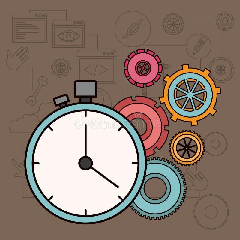 Fondo con factor tiempo en vías de la construcción ilustración del vector