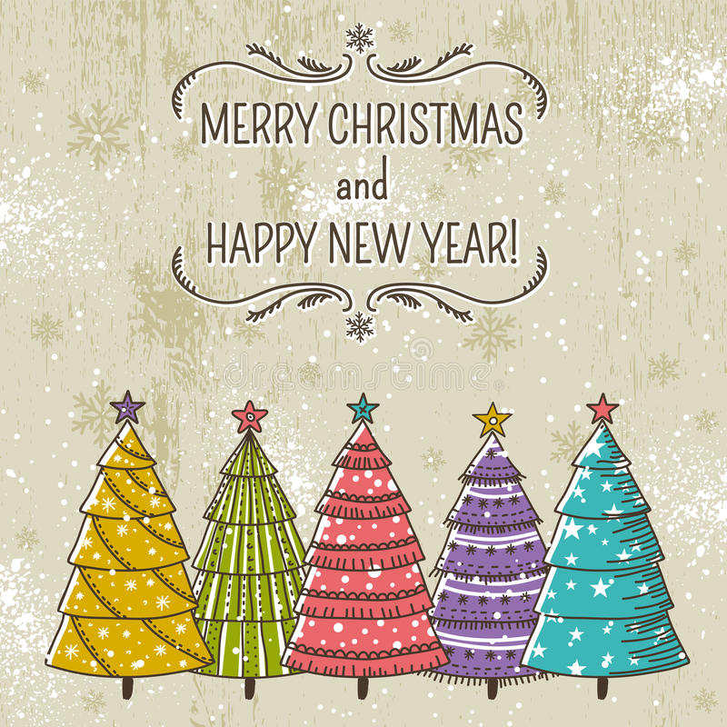 Fondo con gli alberi di Natale ed etichetta con tex royalty illustrazione gratis