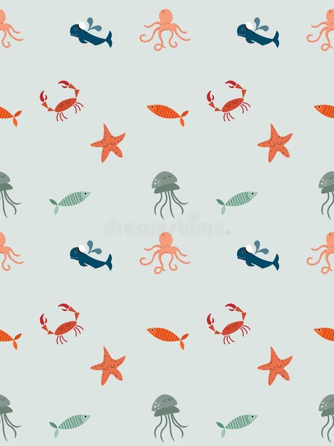Fondo con gli animali marini royalty illustrazione gratis