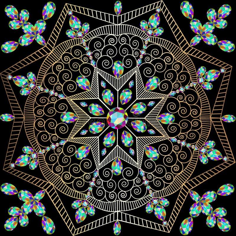 Fondo con gli ornamenti circolari delle pietre preziose e delle spirali royalty illustrazione gratis
