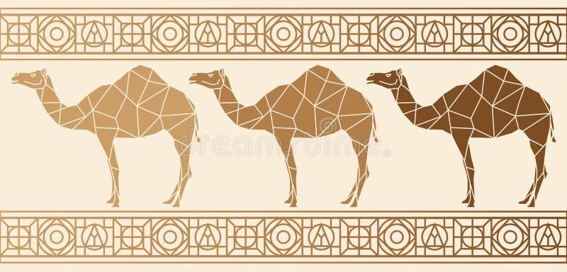 Fondo con i cammelli Reticolo etnico illustrazione vettoriale