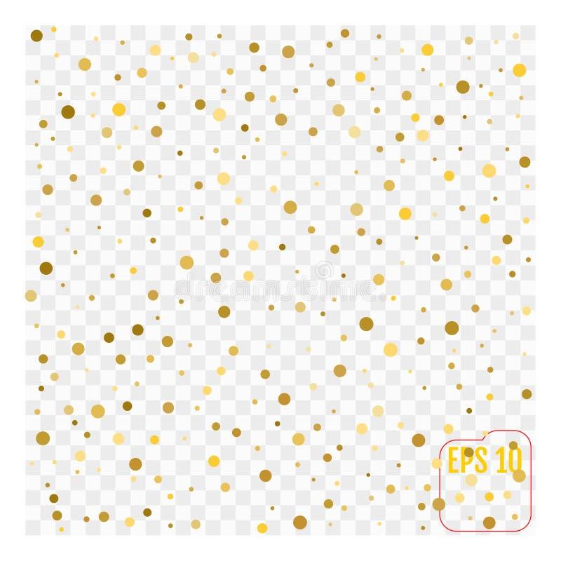 Fondo con i coriandoli sparsi dell'oro isolati su trasparente illustrazione di stock