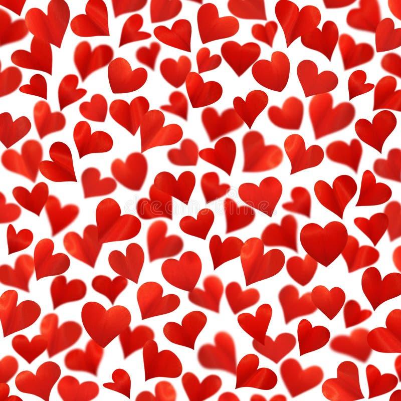 Fondo con i cuori rossi in 3D, immagine tridimensionale, alta risoluzione, biglietto di auguri per il compleanno, isolato su fond immagini stock