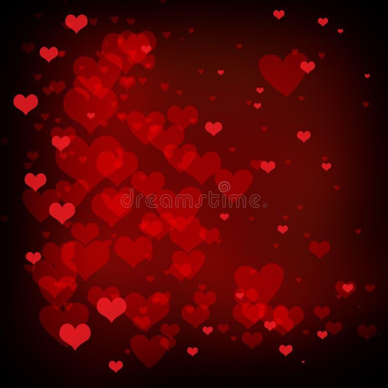 Fondo con i cuori rossi, progettazione di giorno di biglietti di S. Valentino del fondo di amore illustrazione di stock