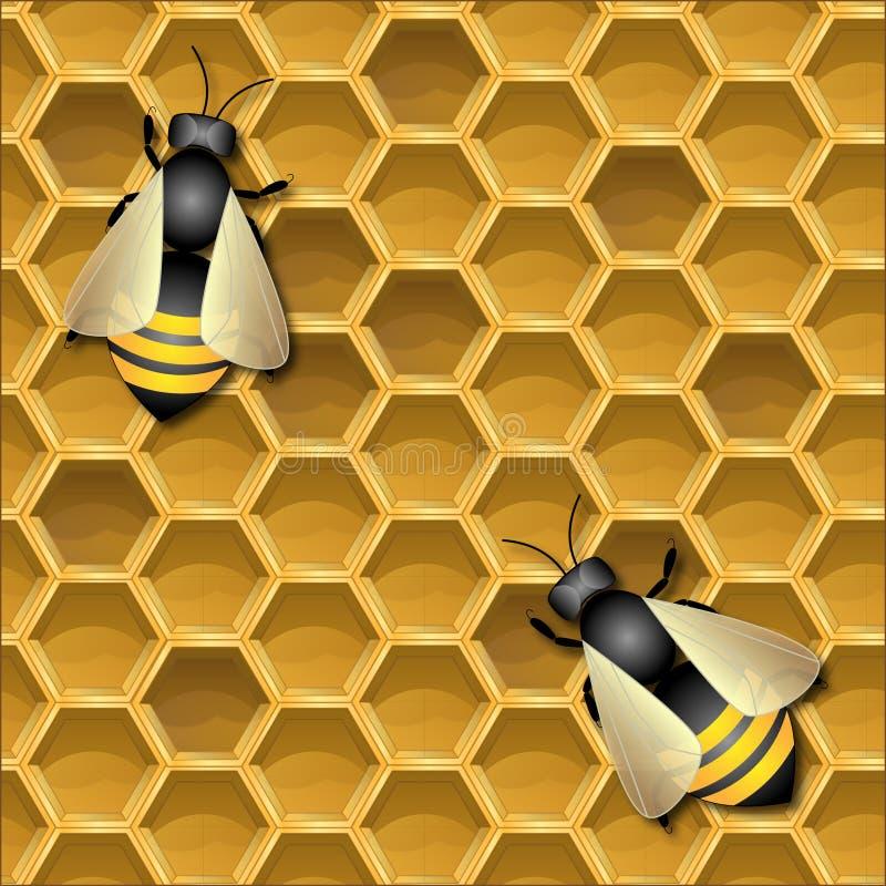 Fondo con i favi e le api royalty illustrazione gratis