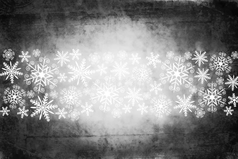 Fondo con i fiocchi di neve bianchi, stile grungy di Natale illustrazione di stock
