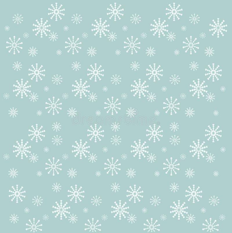 Fondo con i fiocchi di neve bianchi sul blu, vettore illustrazione di stock