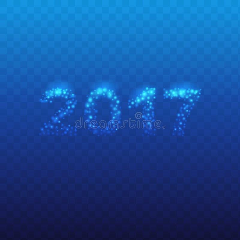2017 fondo con i fiocchi di neve, progettazione del nuovo anno per la cartolina d'auguri, calendario royalty illustrazione gratis