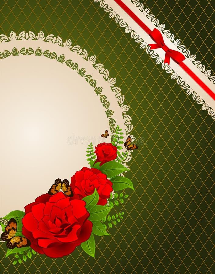 Fondo con i fiori e gli ornamenti fotografia stock
