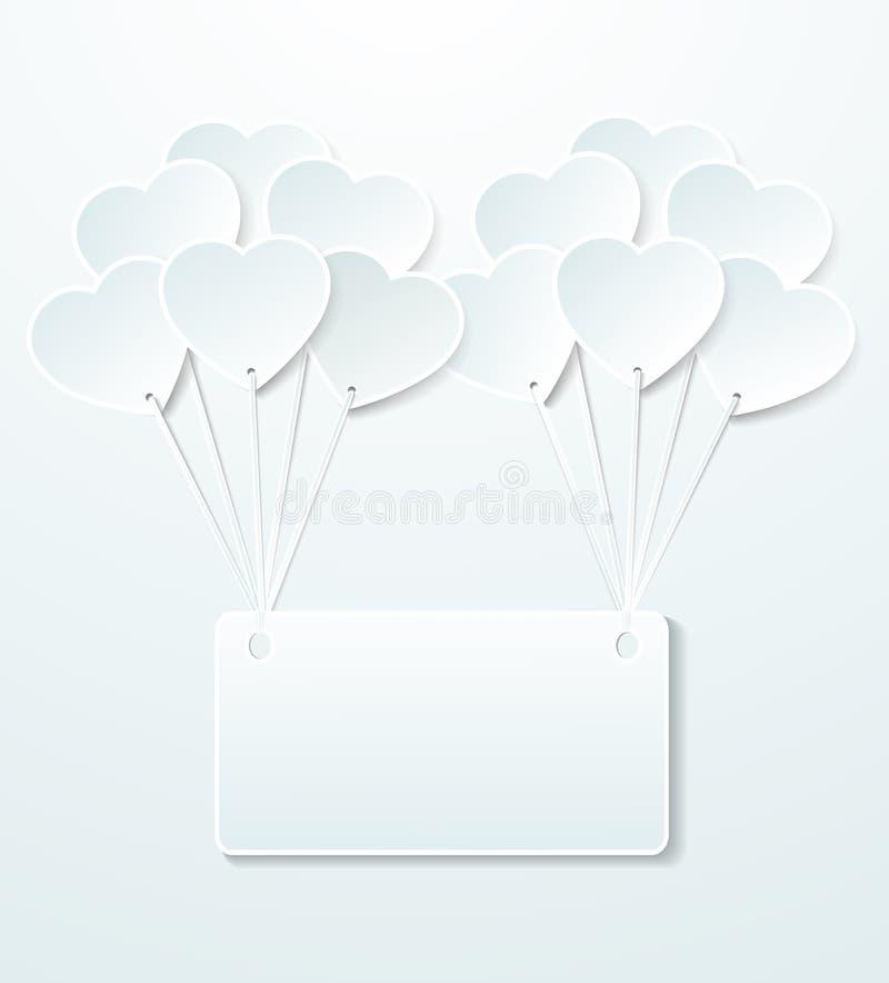 Fondo con i palloni sotto forma di cuore e di carta per appunti. illustrazione vettoriale