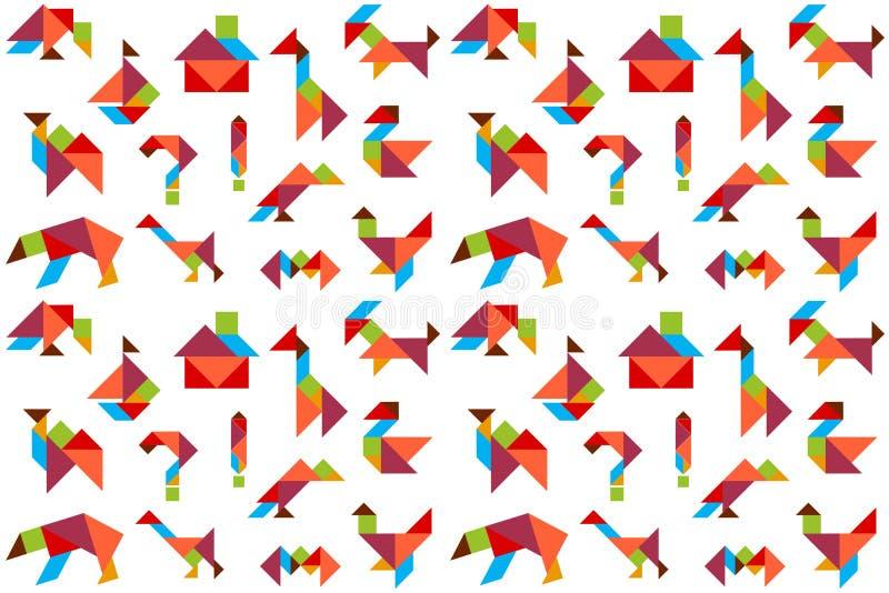 Fondo con i puzzle, animali, uccelli, nave, illustrazione vettoriale