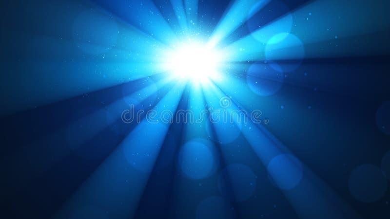 Fondo con i raggi brillanti di un sole di luce e di bokeh, splendore divino, cielo, cielo brillante blu fotografie stock