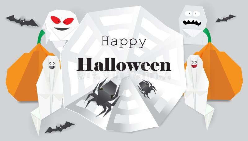 Fondo con i ragni di origami, il fantasma, la zucca e l'iscrizione felice di Halloween royalty illustrazione gratis